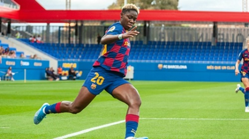 Asisat Oshoala in action for Barcelona