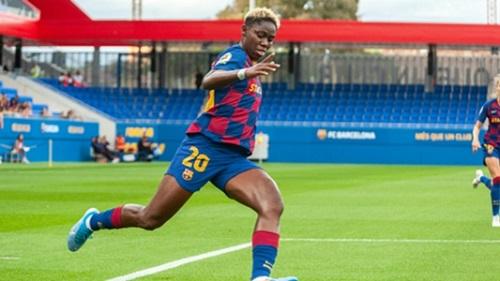 Asisat Oshoala in action for Barcelona