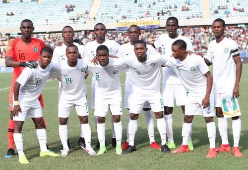 Nigeria's Golden Eaglets lining up during a match